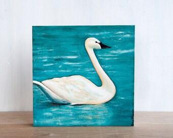 Sale - Swan Original Painting by Mara Minuzzo