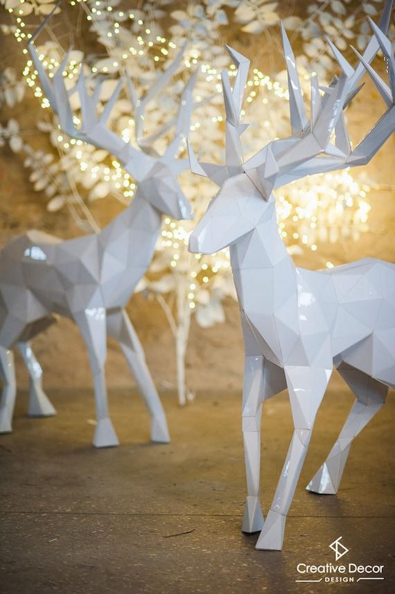 deer 3d paper craft low poly deer papercraft low poly
