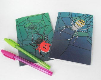 Spider notebook set (One lined and one blank with recycled pages)