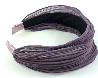 Shake head/headband/wide pleated chiffon fabric - light taupe headband way