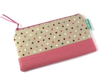 Pencil zipper pouch Lined pencil case Polka dot makeup bag Storage pouch Gift for her Teacher gift