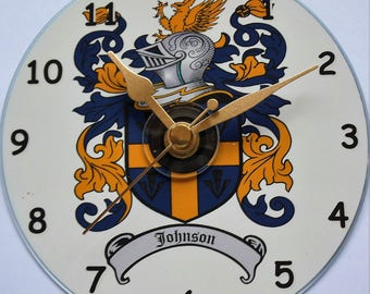 Unique cd clock with any family coat of arms on a clock face