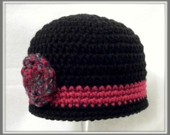 SALE Crocheted Baby Girl's  Hat in Black and Purple Baby Girl's Hat Baby Girl Beanie Crocheted Baby Cloche