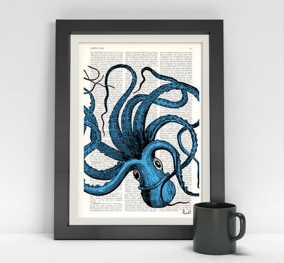 Turquoise Octopus Print,Dictionary art,wall art octopus decor, art print,Wall decor ctopus art,blue SEA061b