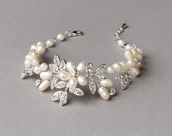 Pearl Wedding Bracelet, Floral Bracelet, Freshwater Pearl Bracelet, Rhinestone Bridal Bracelet, Pearl Wedding Jewelry,Bride Jewelry ~JB-4818