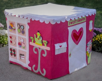 Card Table Playhouse, Bakery Playhouse, Cupcake Playhouse, Custom Order, Personalized, 40 removable and replaceable pieces