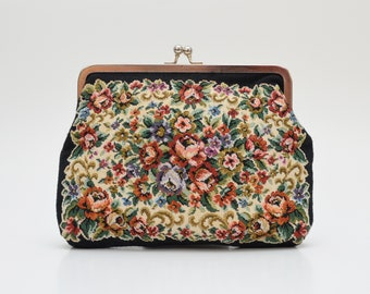 50s Floral Tapestry Clutch - Vintage 1950s Evening Bag made in Hong Kong
