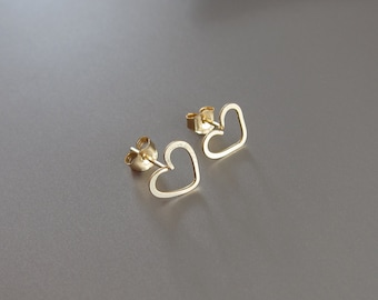 Gold Heart Earrings-Rose Gold Heart Jewelry-Gold Heart Post Earrings-Gold Heart Stud Earrings-Wire Heart Gift-Unique Christams Gift for Her