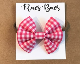 Pink gingham hair bow - Infant / Toddler - Nylon Headband / Clip