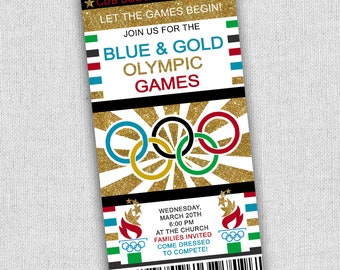 Olympic invitation etsy cubscout olympic invitation olympics party invitation blue and gold olympics invitation free custom stopboris Gallery