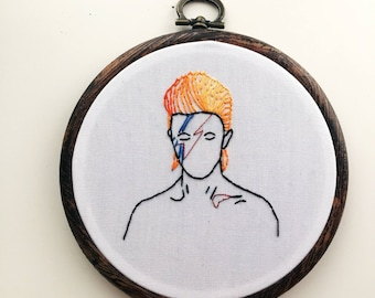 David Bowie Aladdin Sane glitter hoop embroidery