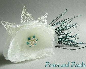 """Ivory and Teal Floral Hair Comb Fascinator, Organza, Swarovski Crystals, Pearls, Lace, Peacock Feathers, """"Ivory Flair"""""""