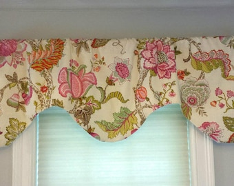 "Scalloped Curved Window Valance/P Kaufman Linen Fabric/Malawi Hibiscus/Pink Floral Window Valance 51"" wide x 18"" long/Sateen Lining/Pink"