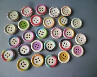 x 50 mixed round wooden buttons with multicolored pattern 4 hole 15 mm
