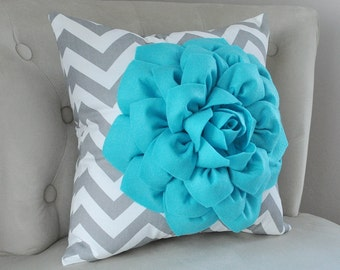 PILLOWS Turquoise Flower on Gray and White Chevron Pillow Chevron Pillow Toss Pillow Modern 16 x 16 Custom Decor Gift - Teal Home Decor