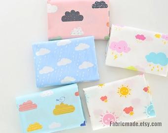 Kids Baby Cotton Fabric, Cartoon Cloud Rain Sunny Lightning Weather Print Cotton Fabric  - 1/2 Yard