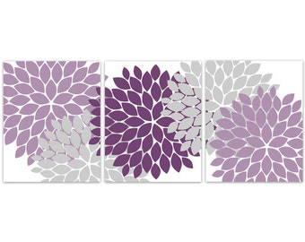 Home Decor Wall Art, INSTANT DOWNLOAD Purple Grey Flower Burst Art, Bathroom Wall Decor, Purple Bedroom Decor, Nursery Wall Art - HOME115