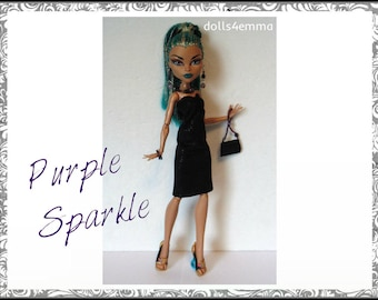 Monster High Nefera Doll Clothes PURPLE SPARKLE - goth Dress, Purse and Jewelry Handmade Fashion - by dolls4emma