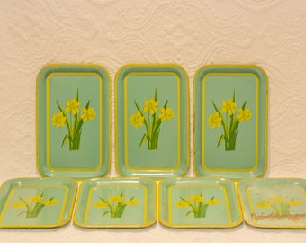 Set of 7 Daffodil Serving Trays from the 40's