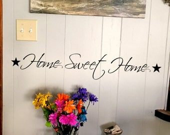 """Wall decal """"Home Sweet Home"""" with stars on each side, home decor, wall decor, vinyl decal INDOOR"""