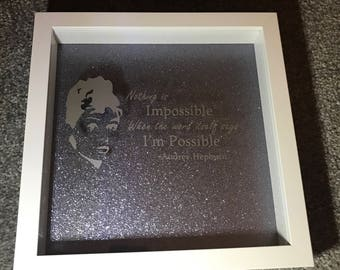 Audrey Hepburn Nothing Is Possible Quote Box Frame