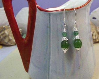 Petite Faceted Natural Emerald 925 Sterling Silver Earrings