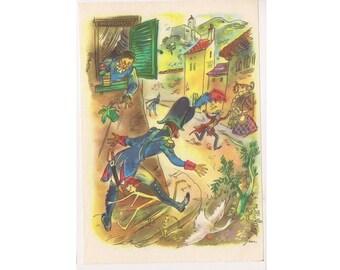 Pinocchio Book Illustration wall decor Fairy tale childrens book page housewares print original vintage poster, pinocchio party