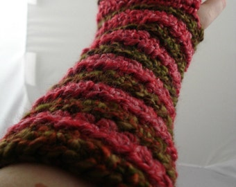 Olive Green and Light Red Striped Crocheted Arm Warmers (size M-L) (SWG-AW-MH07)