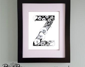 PRINTABLE Monogram Letter Z Digital Print Hand Drawn Pen and Ink