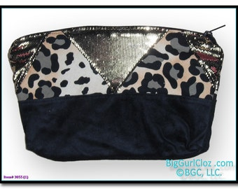 """Personal Pouch Faux Suede Cheetah Gold Zippered Clutch 9""""w x 6.5""""h"""