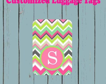 Aztec Print Monogram Teal Luggage Tag - Luggage Tag Monogrammed
