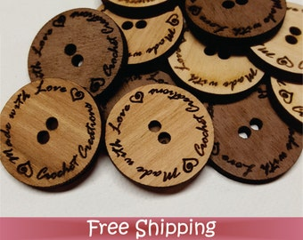"""50 Custom Wood Tags - 1"""" Buttons - Laser cut & Engraved (T-0007)"""