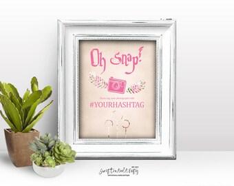 Harry Potter Hashtag Sign Pink Floral Bridal Shower Wedding Baby Shower Birthday Printable Social Media Sign Digital File Sci-fi Geek Nerd