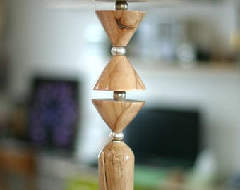 Wooden lamp - wooden Suspension - yarns woven - Spot and rose wood