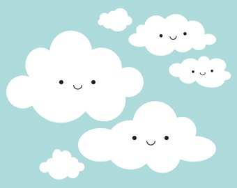 Happy Clouds Wall Decal: Baby Nursery Cloud Appliqué Kids Room Decor