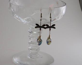 Dragonfly Earrings, Silver Dragon Fly Earrings