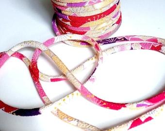 cords 3mm, Chirimen Japanese, pattern cherry blossom, violet (C3147-3)