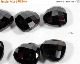 ON SALE Black Spinel Briolette Pair Faceted Heart Shaped Beads Earring Pair Mined Spinel  - ONE Pair - 10x10mm