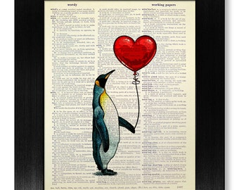 1 First ANNIVERSARY Gift Man Him Boyfriend Unique ENGAGEMENT Her PENGUIN Art Penguin Print Decor Wall Painting Love