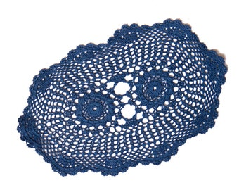 Denim dark blue hand dyed oval Crochet Vintage Doily