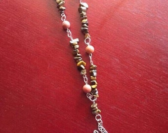 Handmade genuine Tigereye and Red Malachite Rosary.