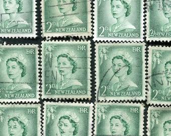Green Queen Elizabeth II Stamps From New Zealand /Bulk Green Stamps/ Used Green Stamps