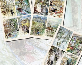 Arthur Rackham's Printables for Wind in the Willows, POSTCARD SIZE,  (3.5 x 5 Inch  or 12.7 x 8.8 cm), 12 Total
