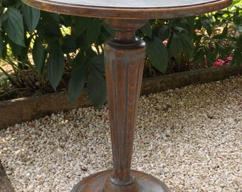 Round table handmade in France vintage wooden / gray vintage wooden pedestal stand