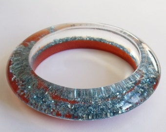 Eco resin bangle with copper and blue sparkles - ready to ship