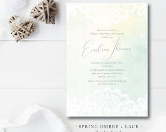Spring Ombre and Lace Shower Invitations