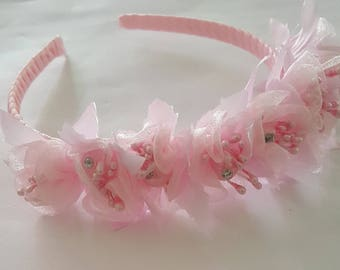 Girls pink flowered headband; flower girl;  party headband;  teenager headband;  quinceanara;  sweet sixteen;  birthday party; wedding