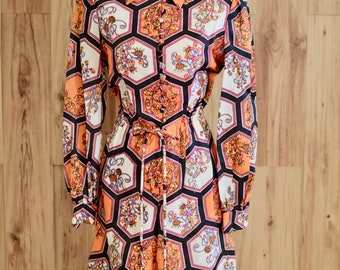 1970s Orange and White Floral Romper, Seventies Honeycomb Print Psychedelic Romper, Long Sleeve Button Up Playsuit, Novelty Print One Piece