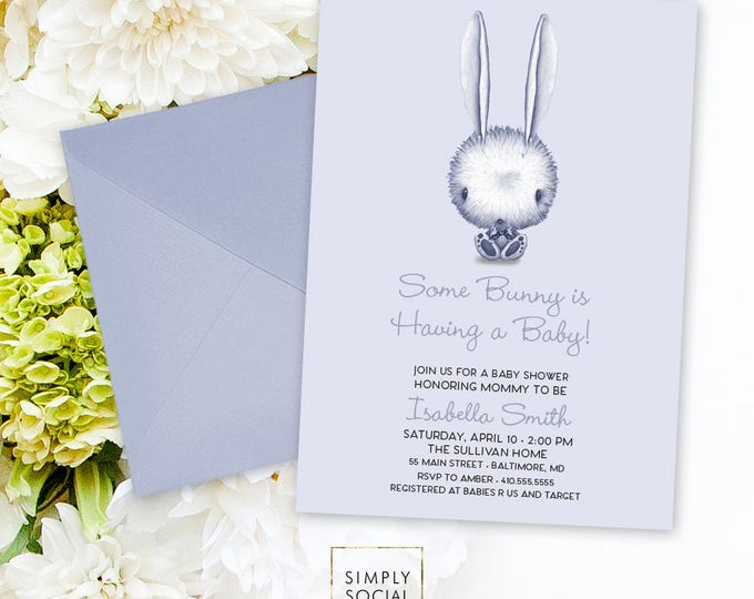 Bunny Baby Shower Invitation - Some Bunny It's a Boy Watercolor Rabbit Modern Baby Shower Blue Invitation Bow Printable