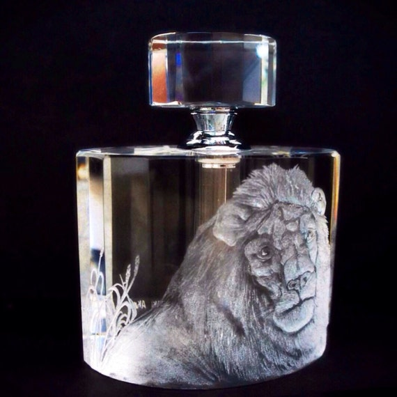 Art Deco Perfume Bottle Hand engraved Lion